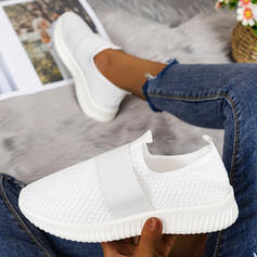 Women's Cloth Flying Weave Flat Heel Flats Low Top Slip On With Bandage Solid Color shoes