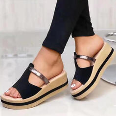 Women's Real Leather Wedge Heel Sandals Slippers With Hollow-out Split Joint shoes