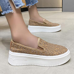 Women's Cloth Flat Heel Slip On With Solid Color shoes
