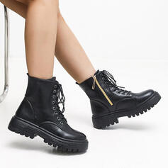 Women's Leatherette Chunky Heel Martin Boots With Zipper Lace-up shoes