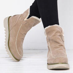 Women's Suede Wedge Heel Snow Boots Winter Boots With Faux-Fur Solid Color shoes