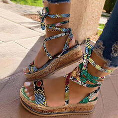 Women's Leatherette Wedge Heel Sandals With Animal Print Lace-up shoes