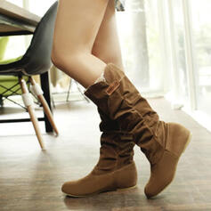 Women's Suede Wedge Heel Mid-Calf Boots Winter Boots With Ruched Solid Color shoes