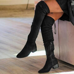 Women's Suede Chunky Heel Boots With Zipper Lace-up Solid Color shoes