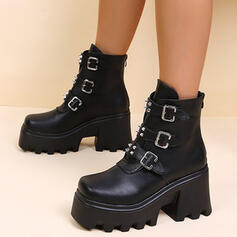 Women's Leatherette Chunky Heel Martin Boots With Rivet Buckle Zipper shoes