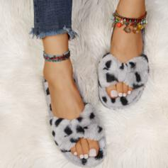 Women's Fake fur Flat Heel Slippers With Faux-Fur shoes