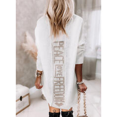 Print/Heart/Letter Knit Long Sleeves Dropped Shoulder Shift Above Knee Casual Sweater Dresses
