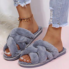 Women's Fake fur Flat Heel Sandals Slippers With Faux-Fur Solid Color shoes