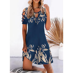 Print Short Sleeves Cold Shoulder Sleeve Shift Above Knee Casual/Vacation Tunic Dresses