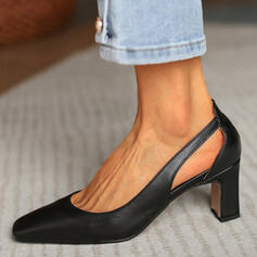 Women's PU Chunky Heel Pumps Heels With Hollow-out Solid Color shoes