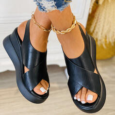 Women's PU Wedge Heel Sandals With Solid Color Crisscross shoes