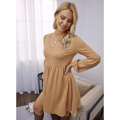 Solid Long Sleeves Lantern Sleeve Shift Above Knee Casual Tunic Dresses