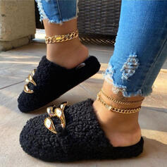Women's Fake fur Flat Heel Slippers With Chain shoes