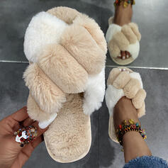 Women's Fake fur Flat Heel Sandals Slippers With Faux-Fur Colorblock shoes