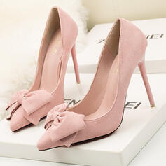 Women's Suede Stiletto Heel Pumps Heels With Bowknot Solid Color shoes