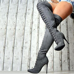 Women's Suede Stiletto Heel Boots With Zipper Lace-up Solid Color shoes