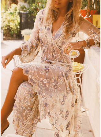 Floral 3/4 Sleeves A-line Skater Vacation Midi Dresses