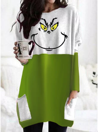 Christmas Color Block Print Round Neck Long Sleeves T-shirts