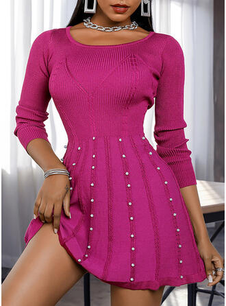 Solid Beaded Round Neck Casual Long Sweater Dress