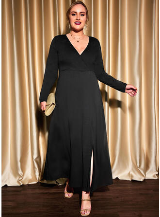 Solid Long Sleeves A-line Skater Little Black/Party/Plus Size Maxi Dresses