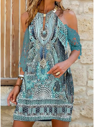 Print Lace 3/4 Sleeves Shift Above Knee Casual/Boho/Vacation Tunic Dresses