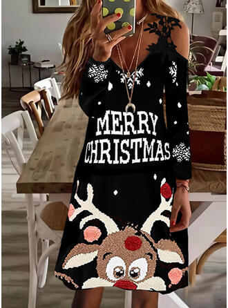 Christmas Print/Letter/Animal Lace Long Sleeves Cold Shoulder Sleeve Shift Above Knee Party Dresses