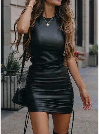 Solid PU Sleeveless Bodycon Above Knee Little Black/Casual Tank Dresses