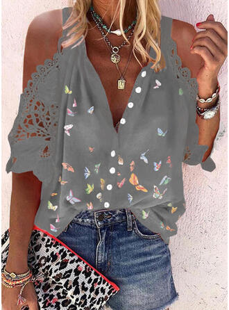 Animal Print Lace Cold Shoulder 1/2 Sleeves Button Up Casual Shirt Blouses