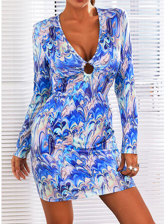 Print Long Sleeves Bodycon Above Knee Sexy Dresses
