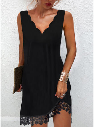 Solid Lace Sleeveless Shift Above Knee Little Black/Casual Dresses