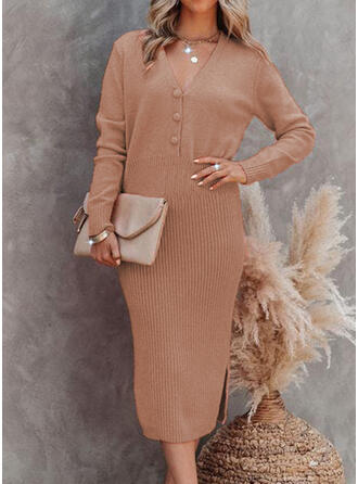 Solid V-Neck Casual Sweater Dress Pencil