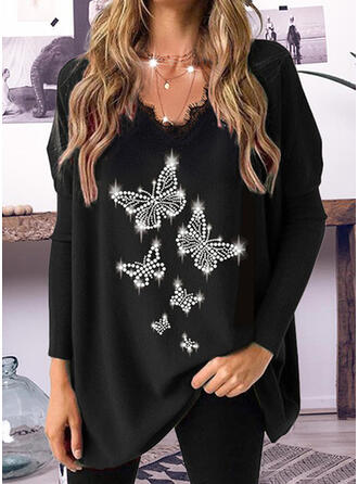 Butterfly Lace V-Neck Long Sleeves T-shirts