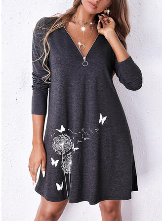 Print/Animal Long Sleeves Shift Above Knee Casual Tunic Dresses