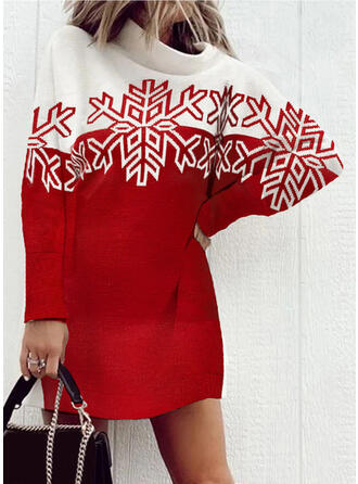 Christmas Print/Color Block Long Sleeves Dropped Shoulder Shift Above Knee Casual Sweater Dresses