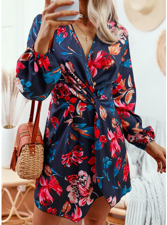 Print/Floral Long Sleeves Puff Sleeve A-line Above Knee Casual Skater Dresses