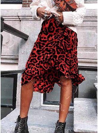 Leopard Knee Length Sexy Party