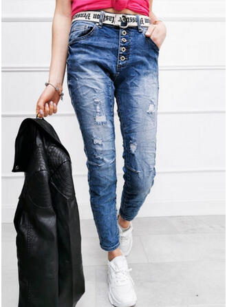 Solid Denim Long Casual Plus Size Shirred Ripped Button Denim & Jeans