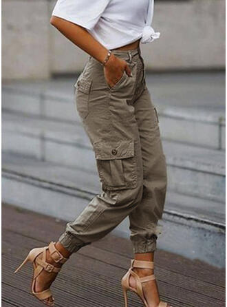 Solid Tribal Long Casual Plus Size Pocket Button Pants