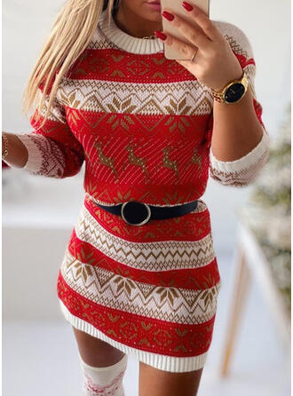 Christmas Print/Animal Knit Long Sleeves Bodycon Above Knee Casual Sweater Dresses