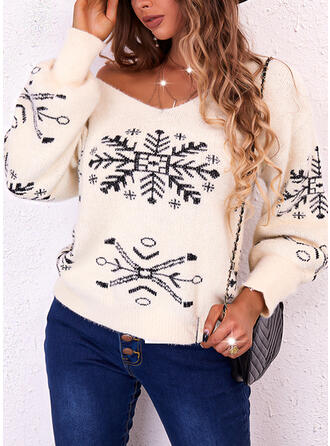 Christmas Print Snowflake V-Neck Casual Sweaters
