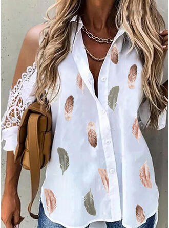 Print Feather Lace Cold Shoulder 3/4 Sleeves Casual Blouses