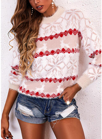 Christmas Print Deer Round Neck Casual Sweaters