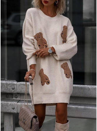 Animal Knit Long Sleeves Dropped Shoulder Shift Knee Length Casual Sweater Dresses