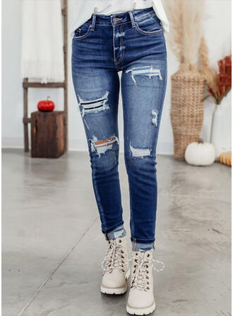 Solid Denim Long Casual Plus Size Ripped Button Denim & Jeans