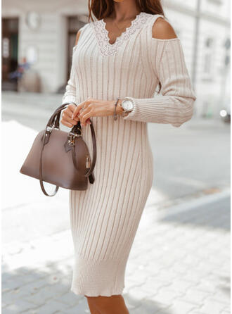 Solid Lace/Knit Long Sleeves Cold Shoulder Sleeve Bodycon Knee Length Elegant Sweater/Pencil Dresses