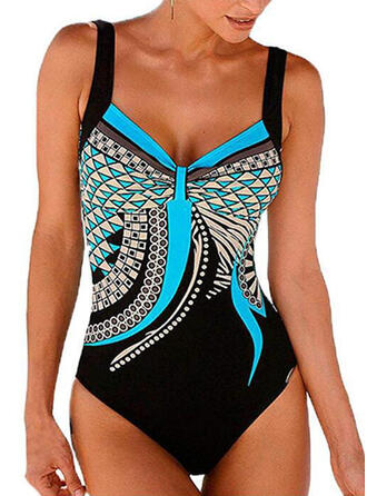 Geometric Print Strap V-Neck Casual One-piece Swimsuits