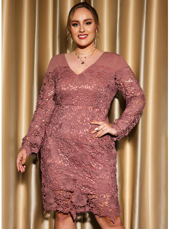 Solid Lace Long Sleeves Sheath Knee Length Party/Plus Size Dresses