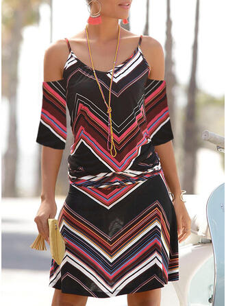 Striped 1/2 Sleeves Sheath Above Knee Casual/Vacation Dresses