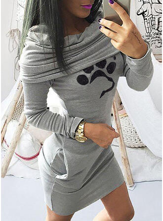 Print/Animal Long Sleeves Bodycon Above Knee Casual Dresses