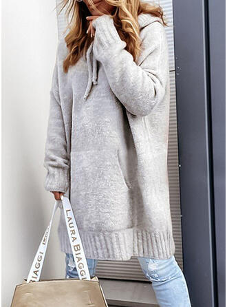 Solid Knit Long Sleeves Dropped Shoulder Shift Knee Length Casual Sweater Dresses